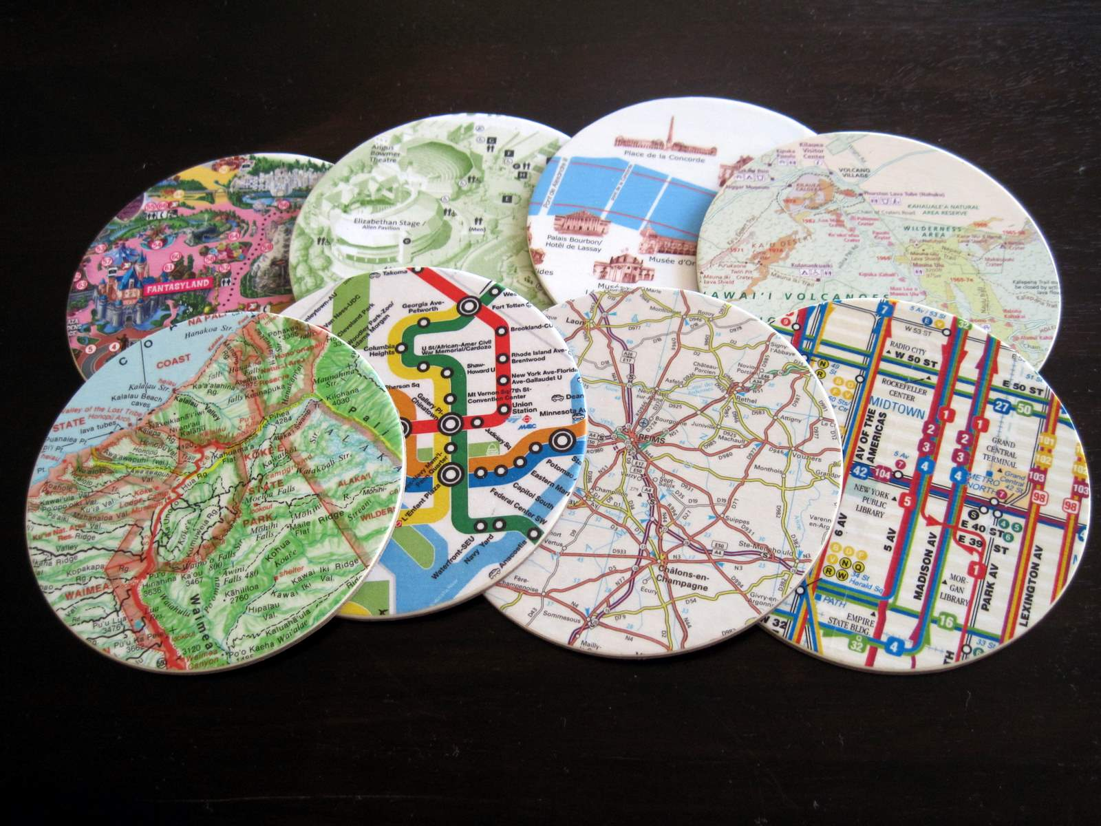 map coasters and memories almost never clever