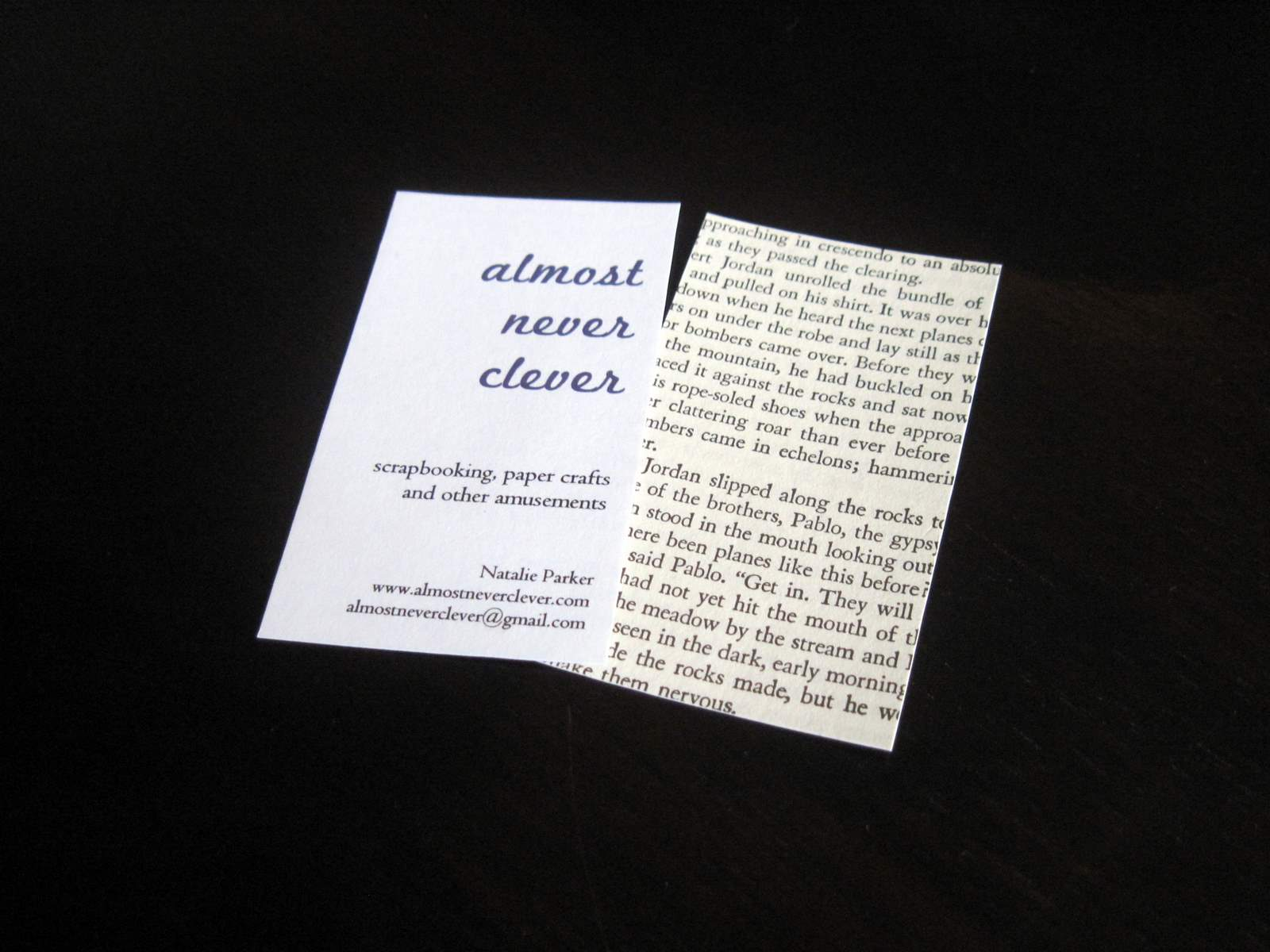 Book page business cards almost never clever two magicingreecefo Gallery
