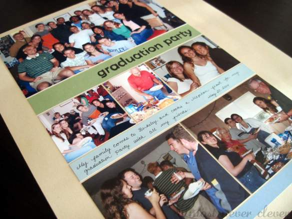 Graduation party scrapbook layout.