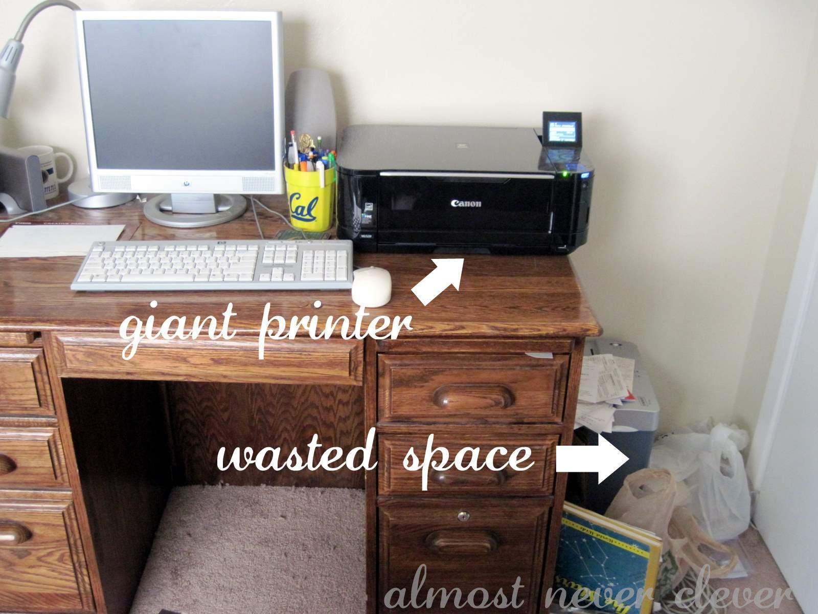 Office desk area.