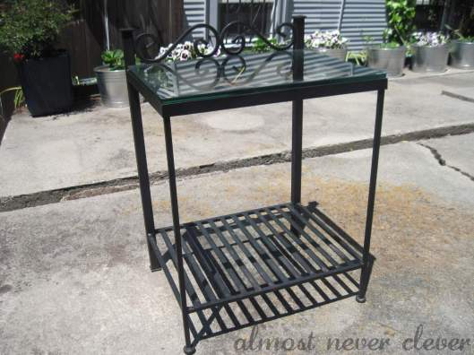 Wrought-iron table.