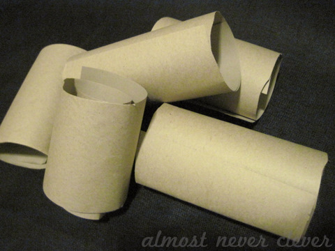 Wrapping paper rolls cut up