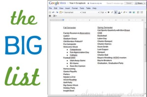 Using Google Docs to keep a scrapbook list.