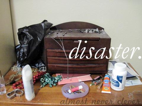 Messy dresser.