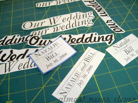 Wedding Scrapbook draft monograms