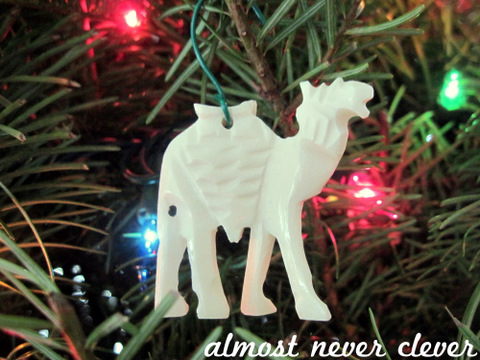 Camel bone Christmas ornament from Egypt