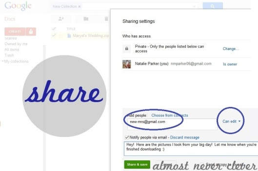 Zip and Share Wedding Pictures with Bride on GoogleDocs