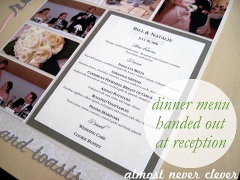 Wedding Reception Scrapbook Layout