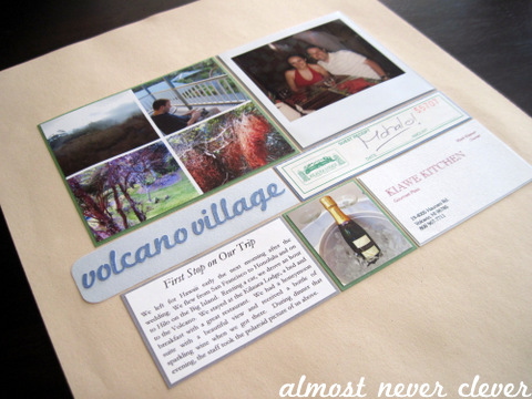 Honeymoon Volcano Village Scrapbook Layout 1