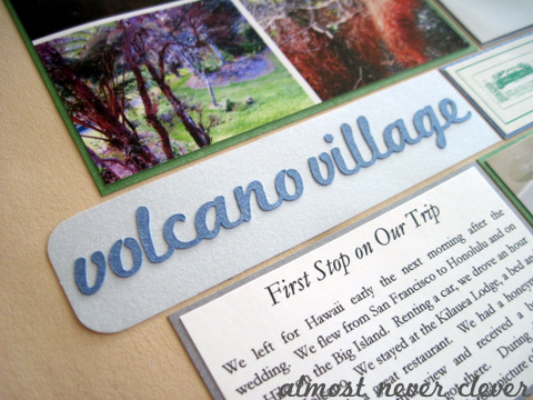 Honeymoon Volcano Village Scrapbook Layout 2