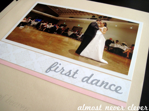 Wedding Scrapbook First Dance Layout with Song Lyrics