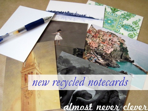 Notecards from Recycled Wedding Supplies