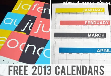 2013 Free Printable Calendar by Almost Never Clever 1