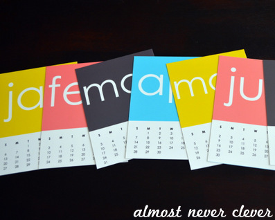 2013 Free Printable Calendar by Almost Never Clever 2