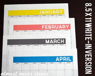 2013 Free Printable Calendar by Almost Never Clever 4