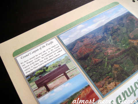 Waimea Canyon Honeymoon Scrapbook Layout by Almost Never Clever