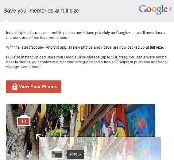 Google+ Full Size Instant Upload