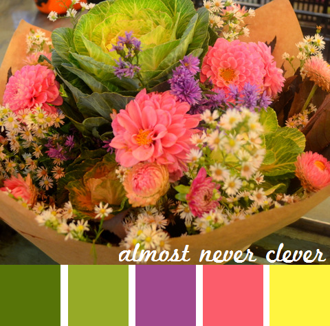 Spring color palette based on bouquet of greens, pinks and purples.