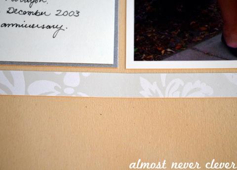 Wedding Scrapbook Anniversary Page Detail Closeup