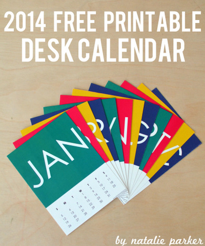 2014 Free Printable Calendar by Natalie Parker