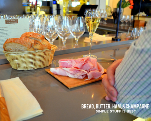 Bread, butter, ham and champagne in Paris by Natalie Parker