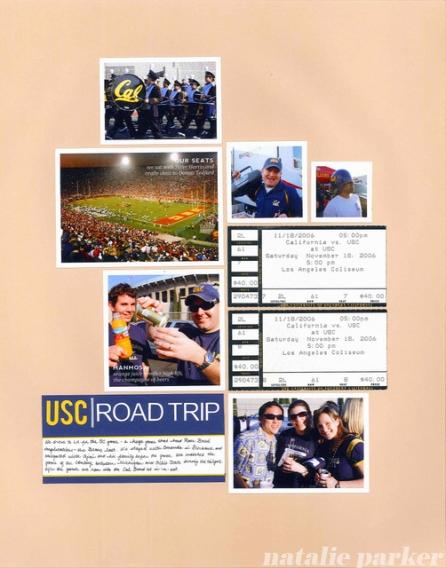 USC Football Roadtrip Scrapbook Layout by Natalie Parker