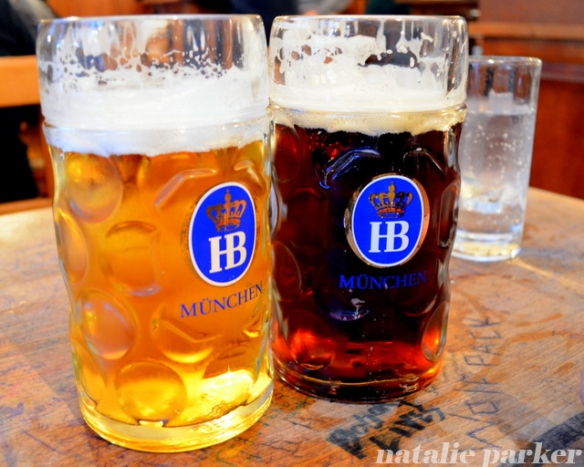 Beers at Hofbrauhaus Munich by Natalie Parker