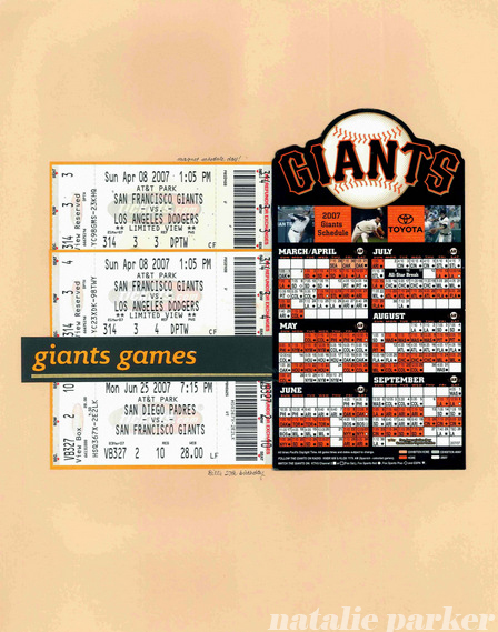 San Francisco Giants Baseball Scrapbook Layout by Natalie Parker