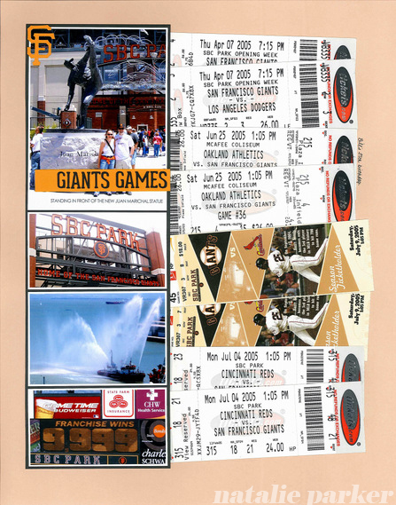 Scrapbook Pages with Tickets by Natalie Parker