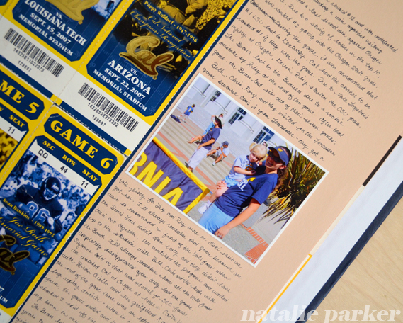 Cal Football Scrapbook Layout by Natalie Parker